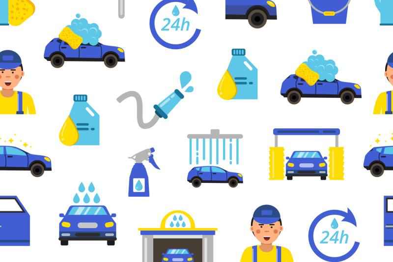 Vector Car Wash Flat Icons Pattern Or Background Illustration By