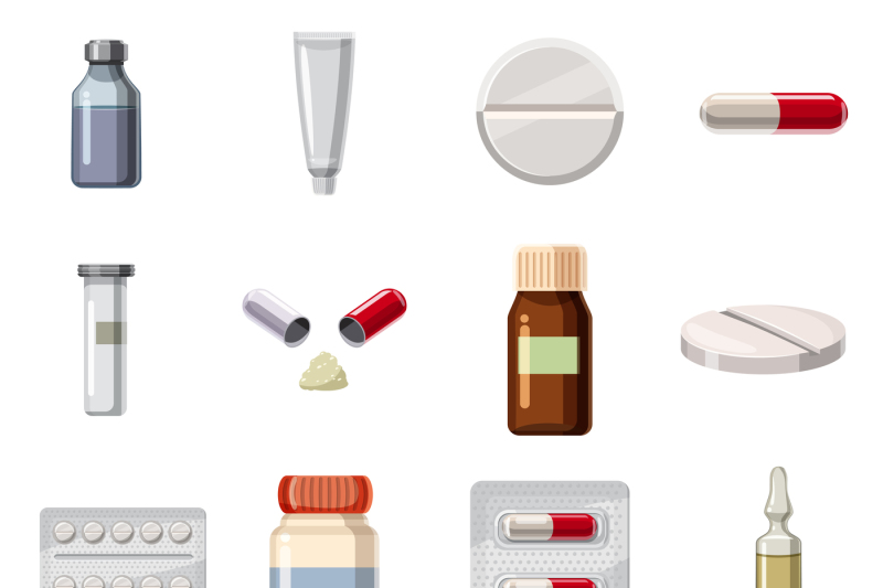 Medicine drugs types icons set, cartoon style By Ylivdesign