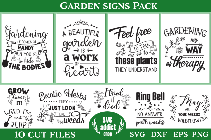 Garden Signs Pack - 10 Cutting Files By SVG Addict Shop ...