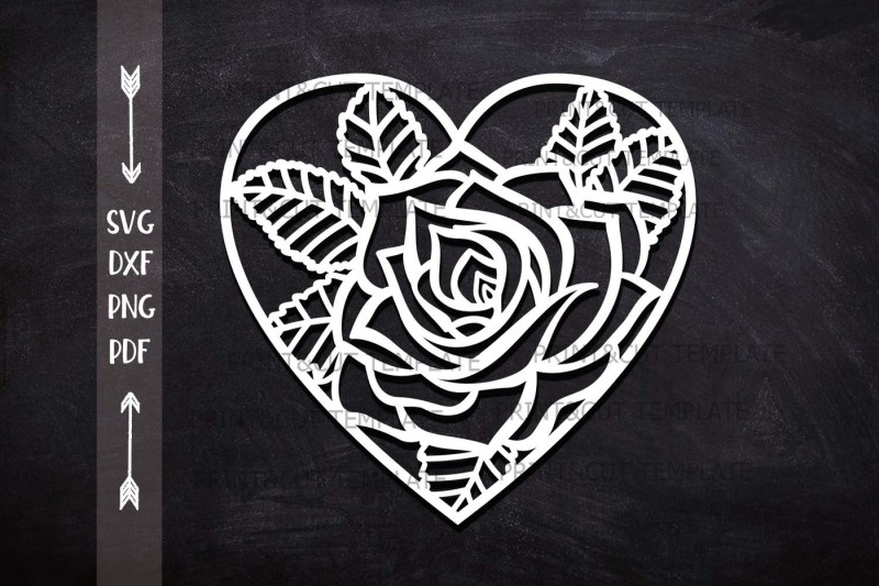 Heart Rose Fl Cutting Wedding Paper Cut Out Svg Laser Template By Kartcreation Thehungryjpeg