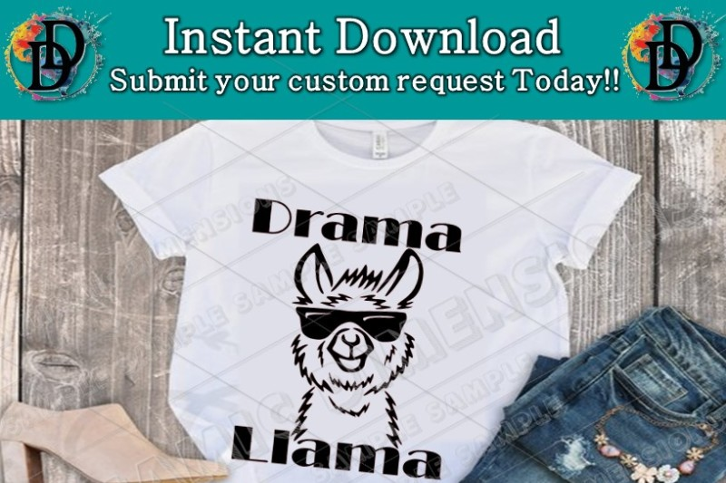 funny llama svg drama llama svg tee t