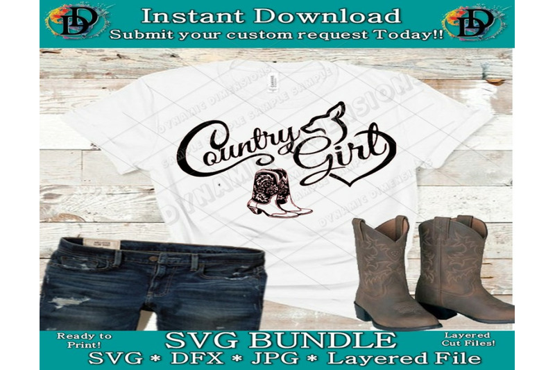 Country Girl Woman Svg Dxf Jpg Files For Cutting Machines Cameo