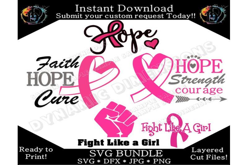 Breast Cancer Svg Bundle Breast Cancer Awareness Svg Ribbon Svg