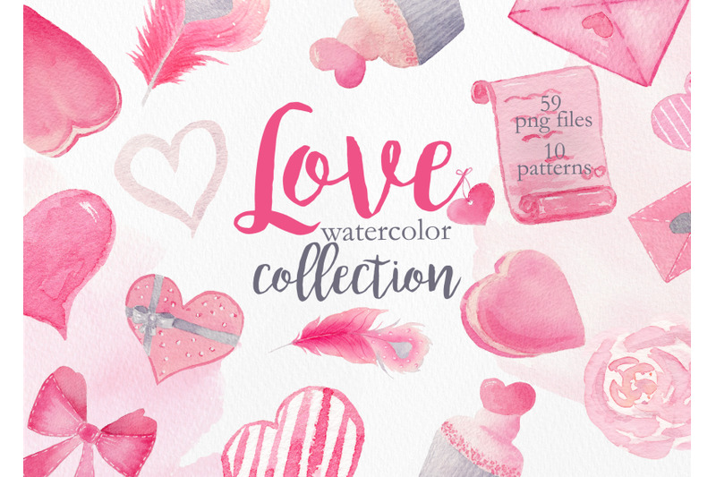 Watercolor Pink Love Collection By Tania Lerro Thehungryjpeg Com