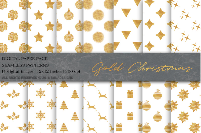 Gold Christmas Digital Papers By Bonadesigns Thehungryjpeg Com