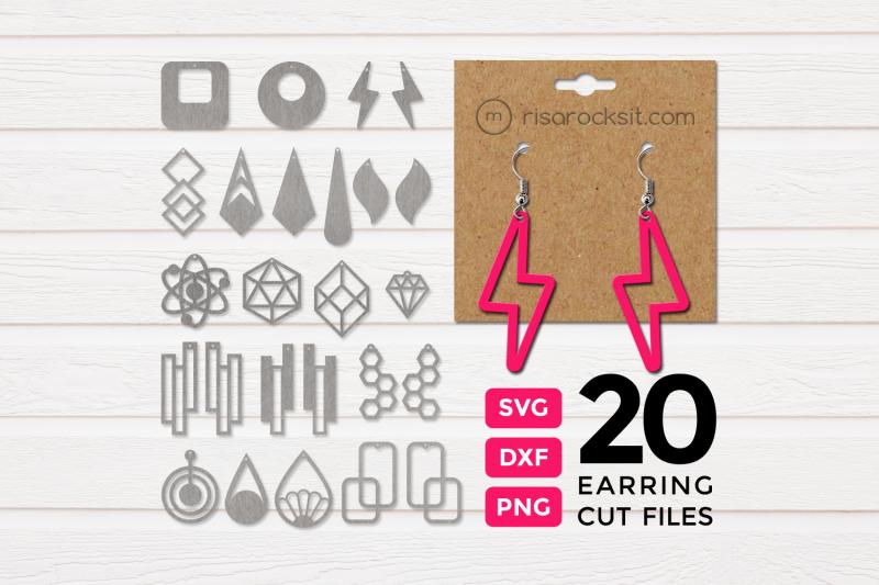 Modern Earrings Design Bundle Svg Png Dxf By Risa Rocks It