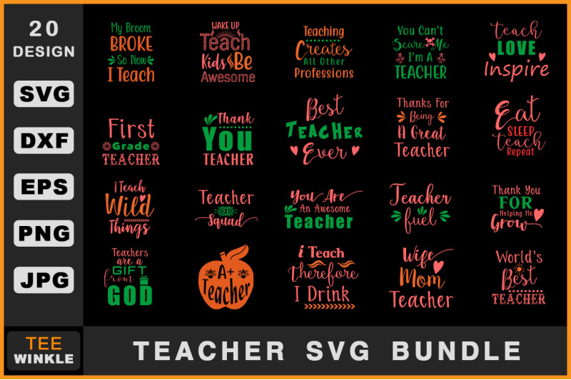 Teacher Svg Bundle By Teewinkle Thehungryjpeg Com