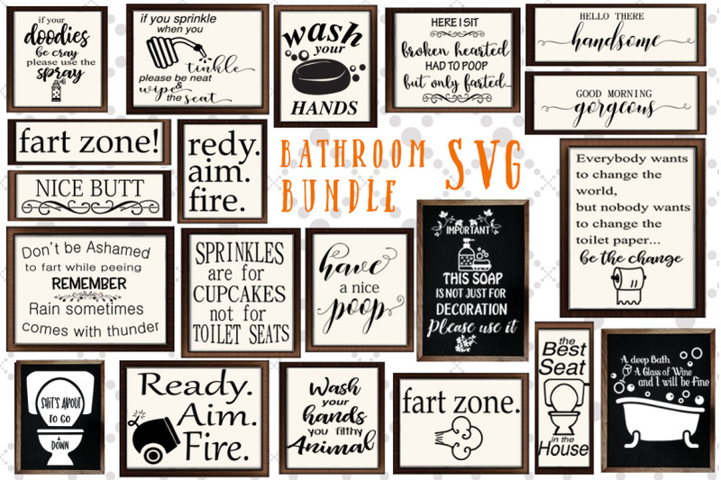 Bathroom Sign Svg Bundle Funny Bathroom Svg Svg Design Bundle By