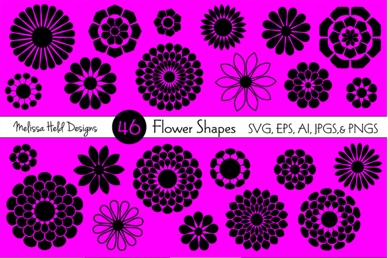 Flower Shapes By Melissa Held Designs Thehungryjpeg Com