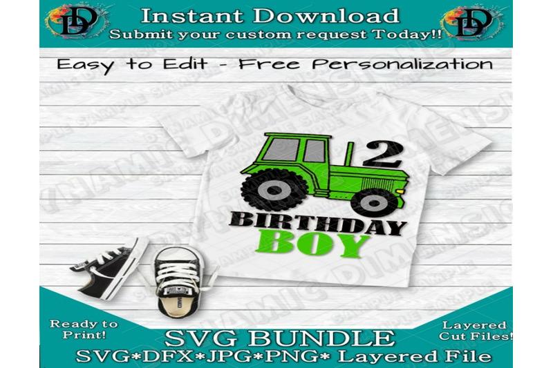 Birthday Boy Svg Green Tractor 2nd Birthday Customize Happy