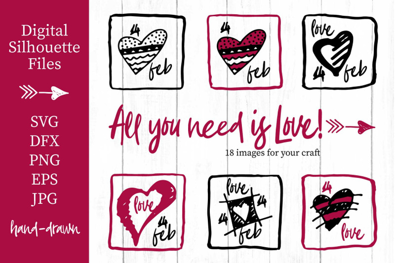 Lovely Valentines Day Set 3 Svg Collection By Zimages