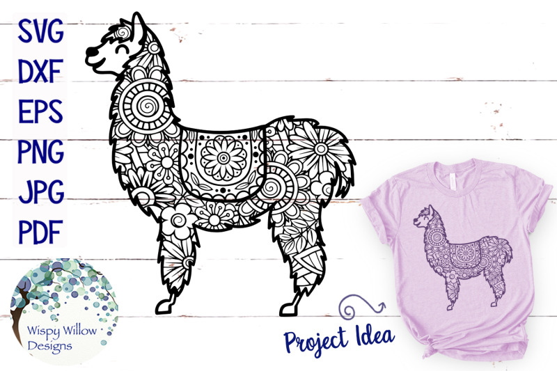 Llama Zentangle Svg By Wispy Willow Designs Thehungryjpeg Com