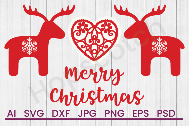 Scandi Merry Christmas Reindeer Border Svg File Dxf File By