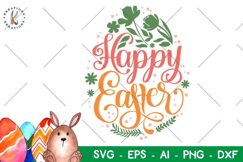 Happy Easter Svg Hand Drawn Hand Lettere Svg By Kreationskreations