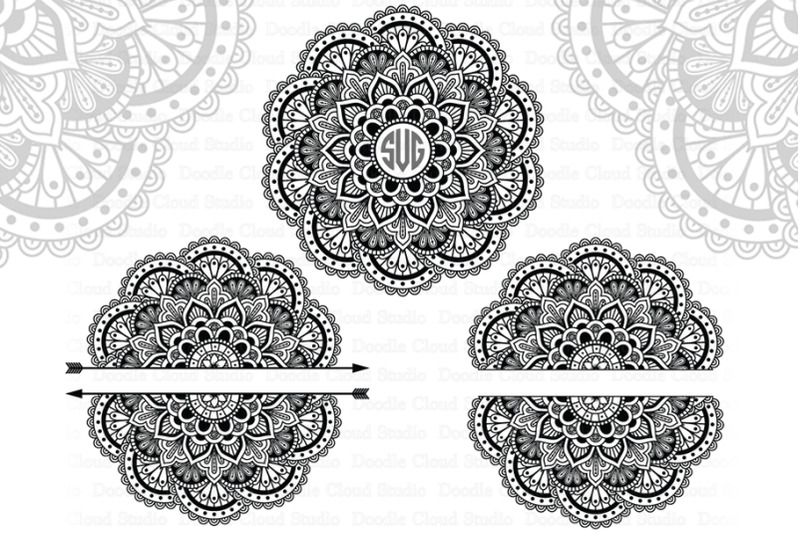 Mandala Monogram Svg Arrow Mandala Svg Split Mandala Svg Files