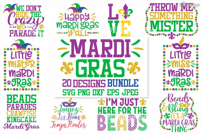 Mardi Gras Svg Bundle Of 20 Designs Dxf Png Cricut Cutting