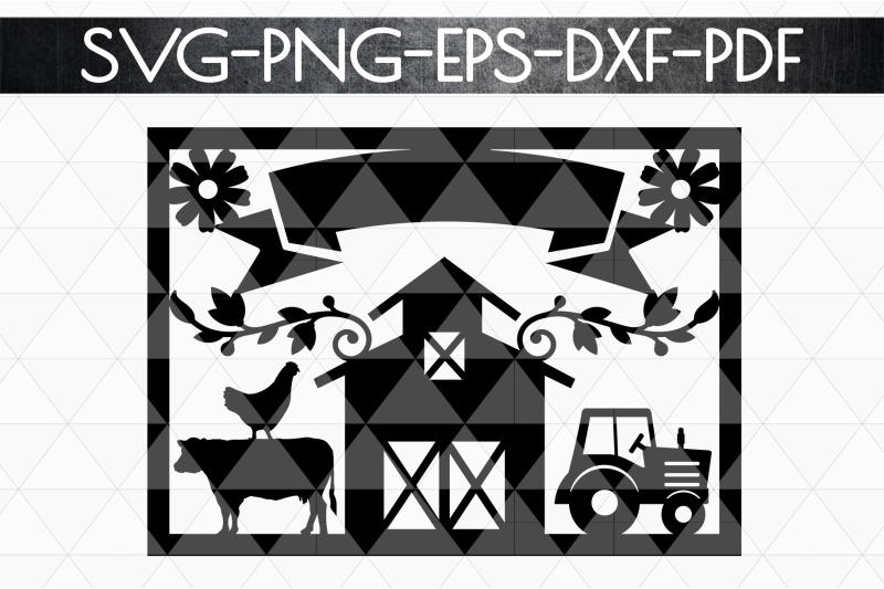 Customizable Farmhouse Papercut Template Farm Decor Laser Cut Dxf Pd