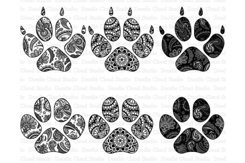 Paw Mandala Svg Zentangle Paw Svg Cat Paw Mandala Dog Paw