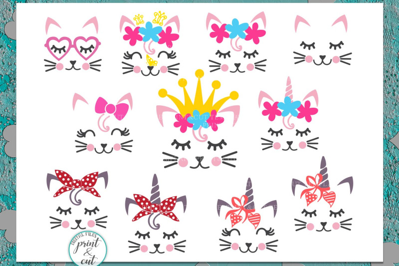 Cat Kitty Face Bundle With Flowers Hearts Unicorn Horn Glasses Svg