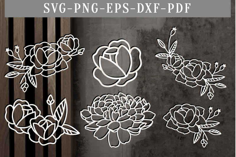Bundle Of 6 Floral Papercut Template Flowers Scrapbook Dxf Svg