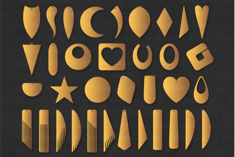 Earring Svg Bundle 35 Earrings Template Cut Files By Doodle Cloud