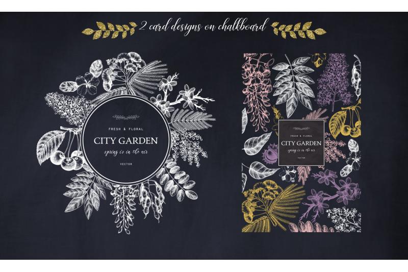 Garden In Flowers Vector Trees Set By Yevheniia Thehungryjpeg Com