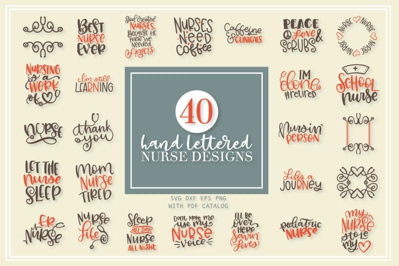 40 Hand Lettered Nurse Svg Bundle By Craftylittlenodes