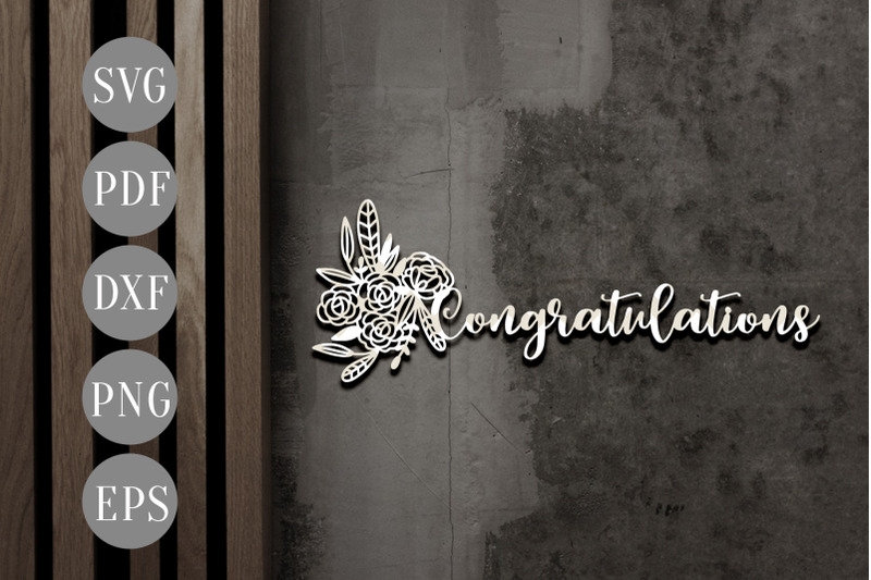 Congratulations Papercut Template Wedding Invitation Card