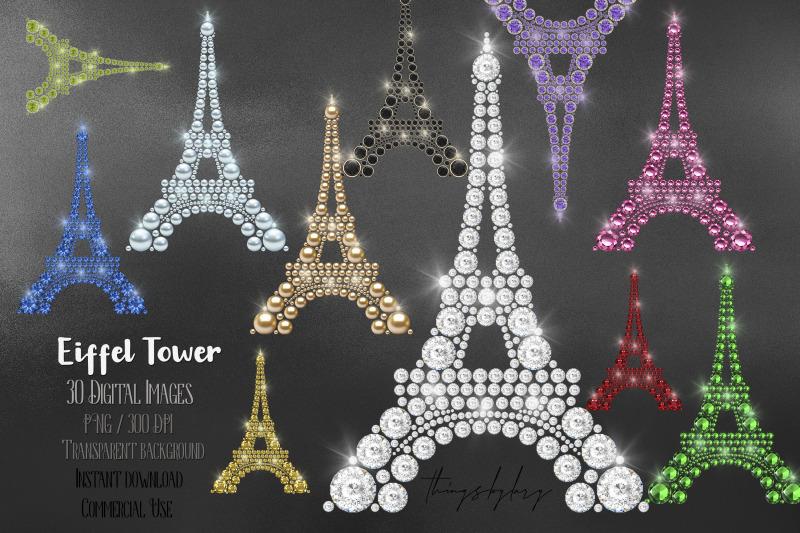 30 Diamond Pearl Gemstone Rhinestone Jewelry Paris Eiffel Tower