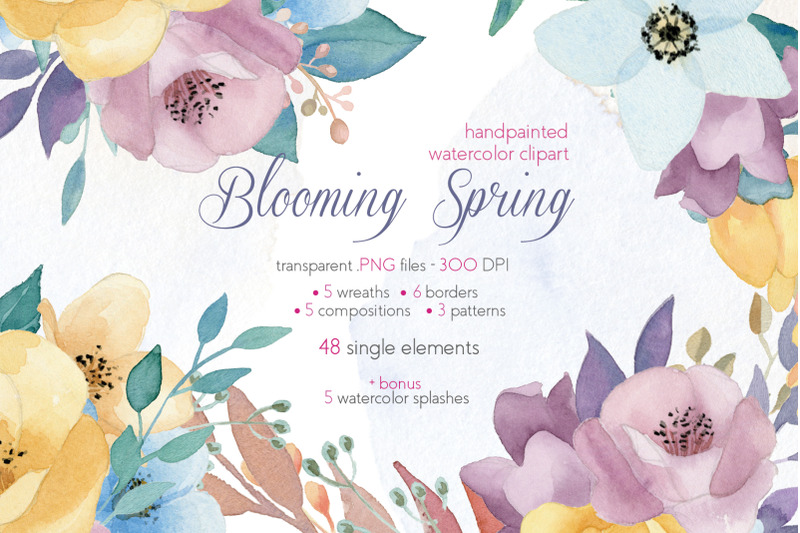 Blooming Summer Watercolor Floral Elements Set Clipart By Julia