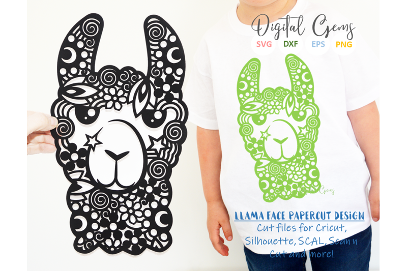 Llama Face Papercut Design By Digital Gems Thehungryjpeg Com