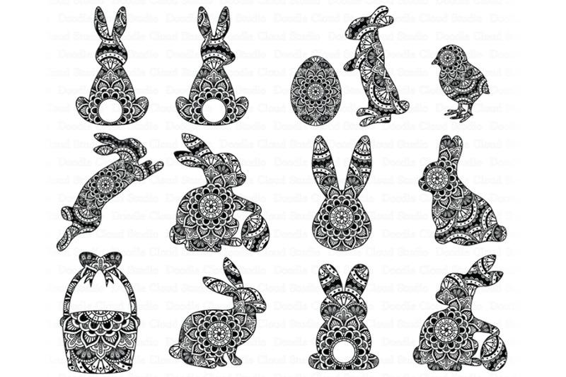 Easter Mandala Svg Bunny Mandala Svg Rabbit Mandala Svg By