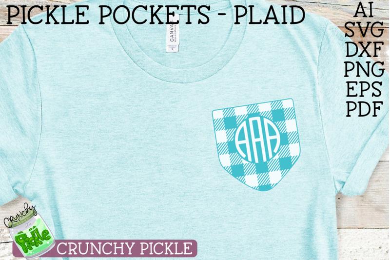 Pickle Pockets Monogram Pocket Plaid Svg File By Crunchy Pickle