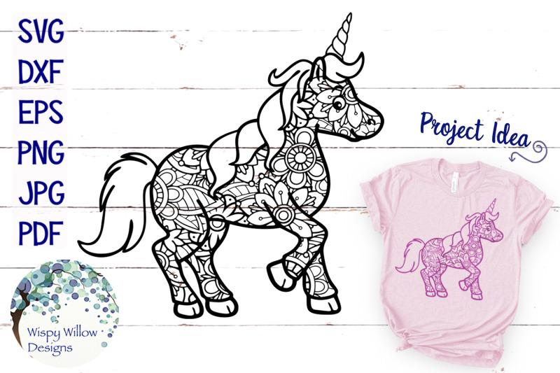 Unicorn Zentangle Svg By Wispy Willow Designs Thehungryjpeg Com