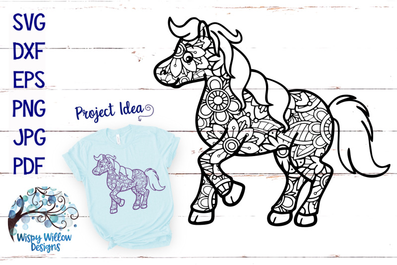 Horse Zentangle Svg By Wispy Willow Designs Thehungryjpeg Com