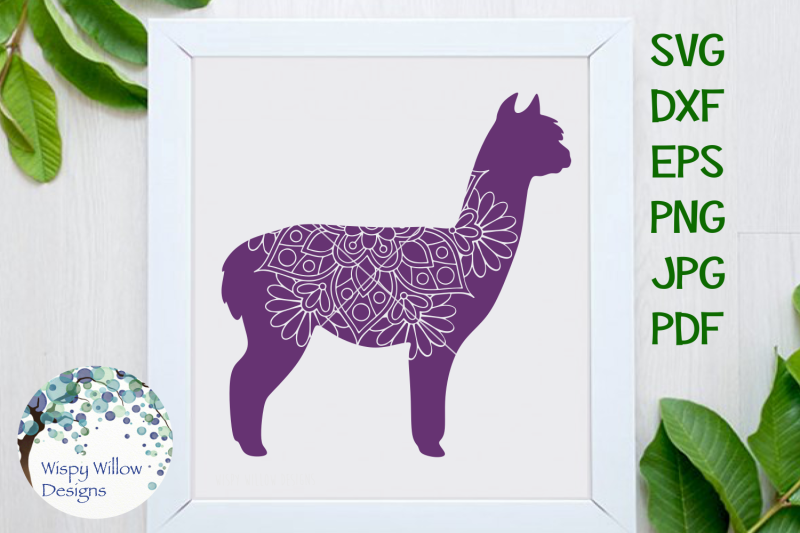 Alpaca Mandala Animal Zentangle Svg By Wispy Willow Designs