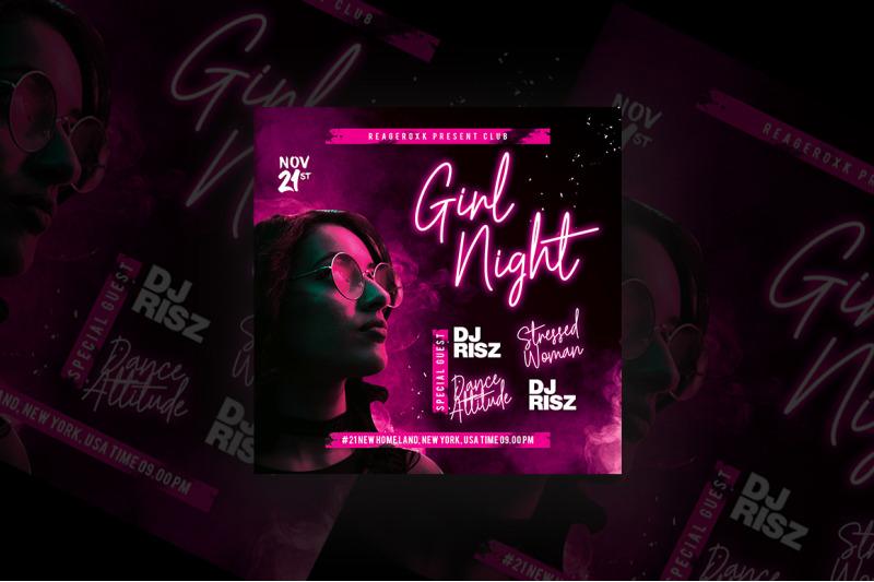 Girl Night Party Flyer By Azruca Thehungryjpeg Com