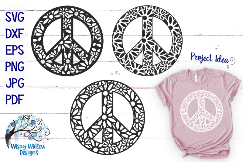 Peace Sign Zentangle Mandala Svg Bundle By Wispy Willow Designs