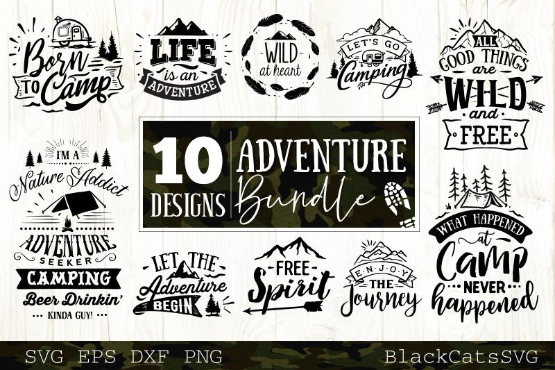 Adventure Svg Bundle 10 Designs Mountains And Camping Svg Bundle By Blackcatssvg Thehungryjpeg Com