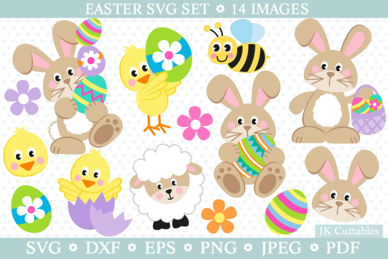 Easter Svg Dxf Png Eps Easter Cut Files Bunny Svg By Jkcuttables