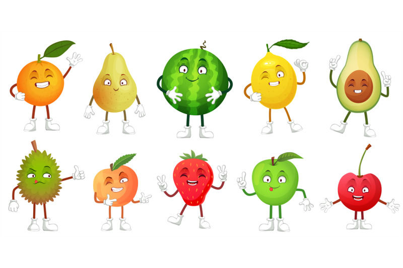 Cartoon Fruit Character Happy Fruits Mascot Funny Durian Smiling