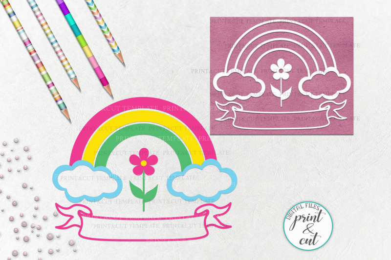 Birthday Rainbow With Ribbon To Add Name Svg Dxf Cutting File By