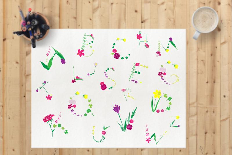 Floral Alphabet Db007 By Dyrabyra Thehungryjpeg Com