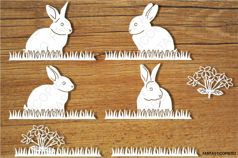 Bunny Bunnies And Grass Svg Files For Silhouette Cameo And Cricut