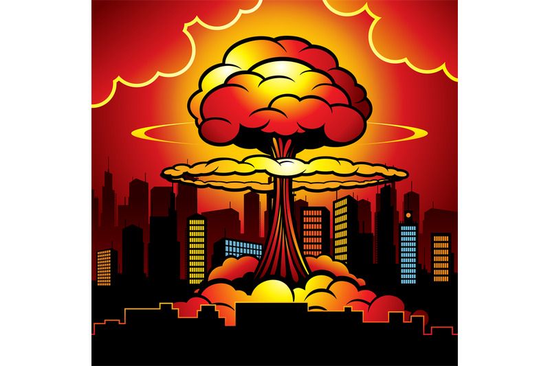 burning city with nuclear explosion of atomic bomb  cartoon vector ill by microvector