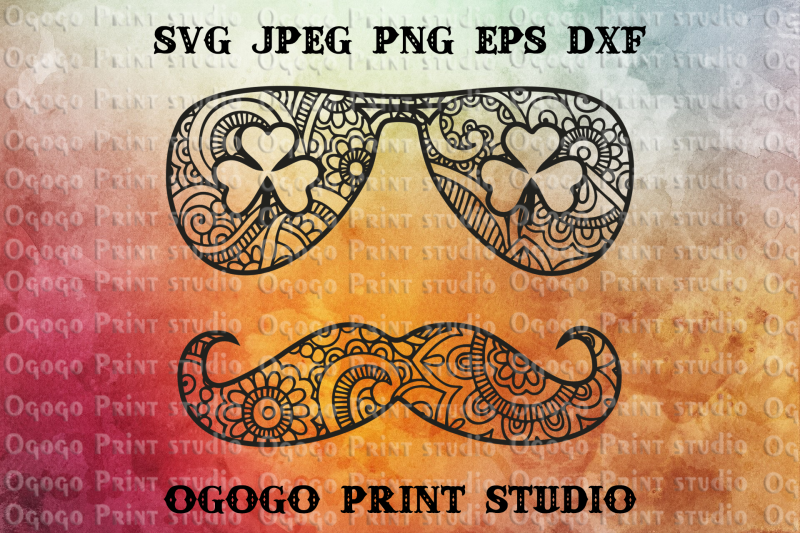 St Patrick S Mustache Svg Shamrock Svg Zentangle Svg By Ogogo