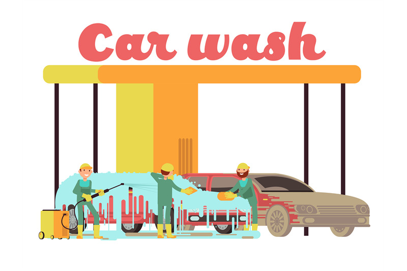 Car Wash Services Promotional Marketing Vector Background By