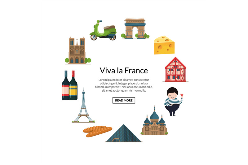 Paris Elements Vector Cartoon France Sights On White By Onyx Thehungryjpeg Com