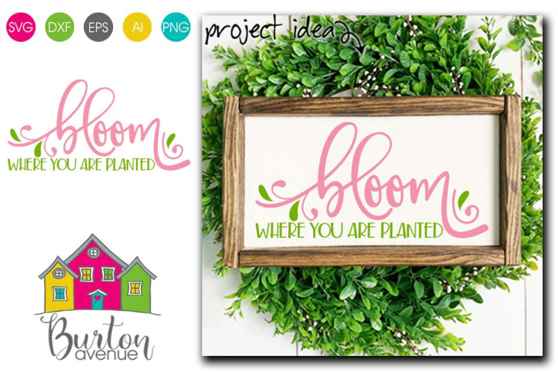 Bloom Where You Are Planted Svg File For Spring By Burton Avenue Thehungryjpeg Com