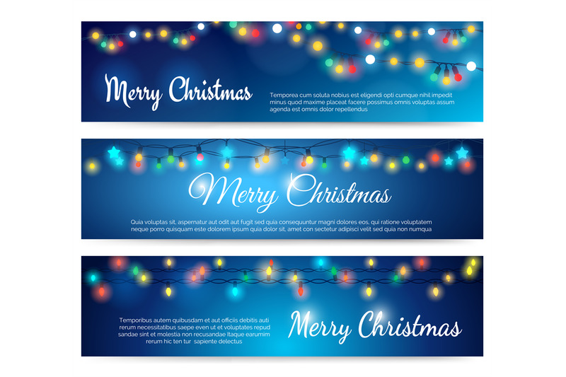 Merry Christmas Blue Banners With Garland By Vectortatu